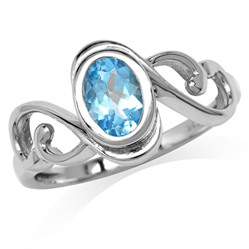 - Genuine Swiss Blue Topaz White Gold Plated 925 Sterling Silver Swirl & Spiral Solitaire Ring (9)