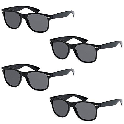 WHOLESALE UNISEX 80'S RETRO STYLE TRENDY SUNGLASSES - 4 PACK (Gloss Black | Smoke Lenses, - Event Sunglasses