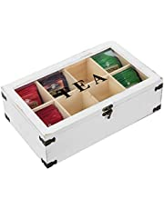 MyGift 8-Compartment Vintage White Wood Tea Bag Storage Box Chest with Clear Acrylic Lid, Antique Latch and Decorative Metal Accents