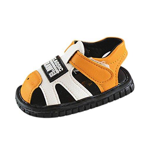 Huhu833 Baby Schuhe, Kleinkind Neugeborene Baby Brief Anti-Rutsch Schuhe Soft Sole quietschende Single Sneaker Sandalen Gelb