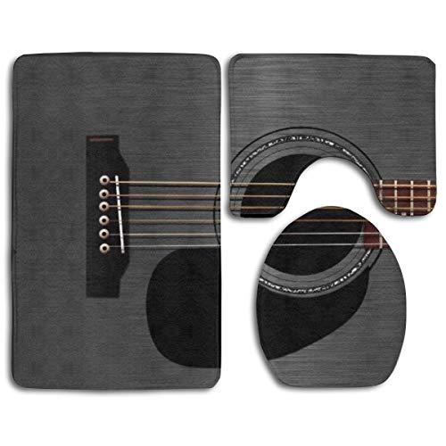 Ash Black Acoustic Guitar Bath Rug Set 3PCS Memory Foam Non-Slip Bathroom Rug Contour, Mat and Toilet Lid Cover