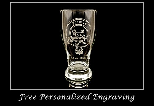 Beer Scottish (Clan Bruce Scottish Crest Pint Glass- Free Personalized Engraving, Family Crest, Pub Glass, Beer Glass, Custom Beer Glass)