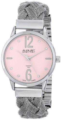 August Steiner Women's AS8092PK Swiss Quartz Diamond Accent Pink Dial Stainless Steel Braided Mesh Bracelet Watch