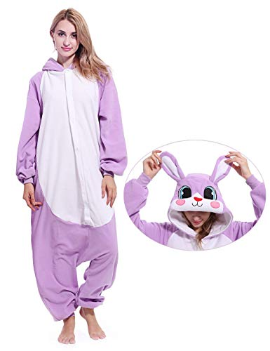 Adult Rabbit Animal Onesies Bunny Cosplay Costume Pajamas Halloween Costumes for Men Women -
