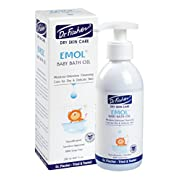 Dr. Fischer EMOL Baby Bath Oil w/Vitamin A & E – 200 ml (6.67 oz.) - Sensitive Approved, Hypoallergenic, Non-Irritant -Free of Soap, Parabens & Alcohol– Immediate & Proven Effectiveness for Dry Skin