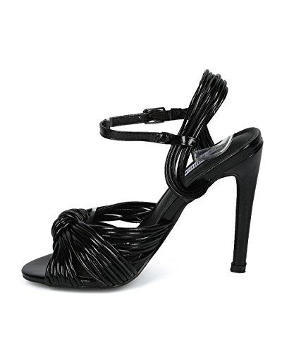 Alrisco Kvinnor Peep Toe Knutna Ankelbandet Stilett Sandal - Hf50 Med Cape Robbin Samling Svart Konstläder