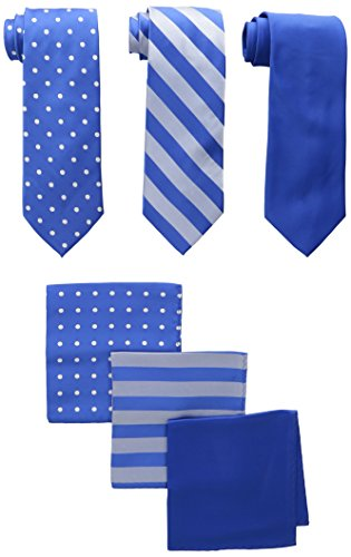Stacy Adams Men's 3 Pack Satin Neckties Solid Striped Dots with Pocket Squares, Royal, One Size