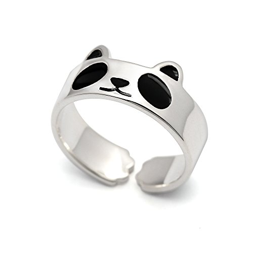 HANFLY Panda ring 925 Sterling silver Fashion Animal Jewelry Adjustable Size ( US6 )