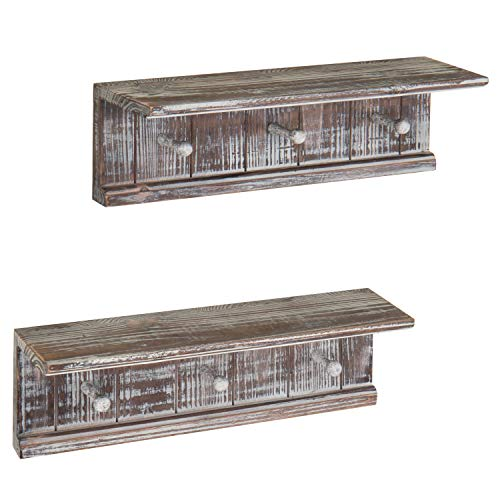 MyGift 16-Inch Rustic Wood Wall-Mounted Bathroom Shelf with 3-Hooks, Set of 2