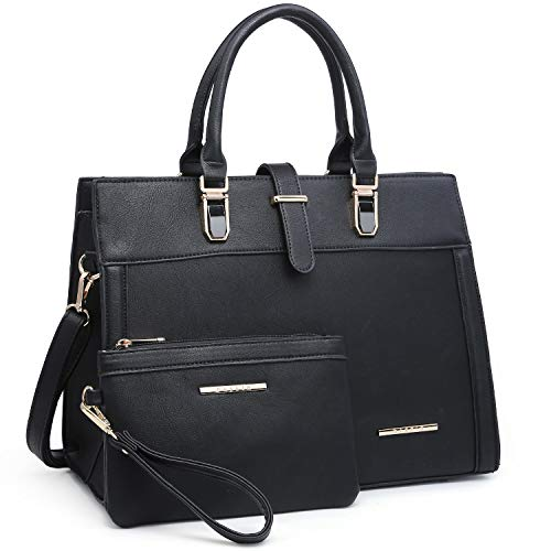 Women's Purse Handbag Shoulder Bag Designer Tote Satchel Hobo Bag Briefcase Work Bag for Ladies (8000 2pcs- Black)