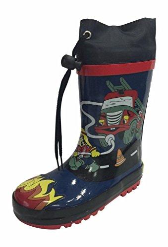 SIYA Little Boys Blue & Black Fire Truck Fireman Rain Boo...