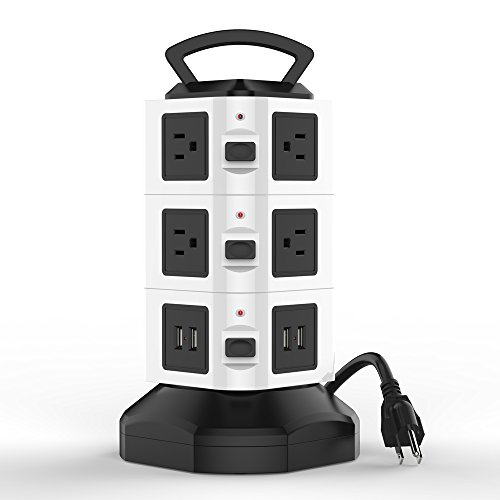 Vertical Port - Asgens Power Strip,10 Way Outlets With 4 USB Port Charger 110-250V Charging Station Smart Power 3 Layers Socket Tower With 9.8 ft Extendable Cord (black & white)