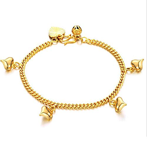 DX.OPK Heart-Shaped Bracelets for Women 18K Yellow Gold Chain Thin Bracelet, Small, 17cm/6.69in Perfect Birthday Christmas