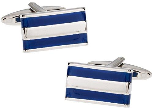 Cuff-Daddy Versatile 2 Bar Blue and Silver Enamel Cufflinks with Presentation ()