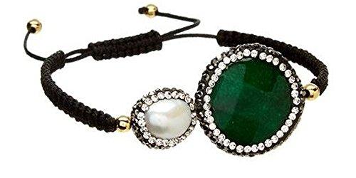 - Kevia Two Stone Adjustable Macrame Bracelet (Green Onyx)