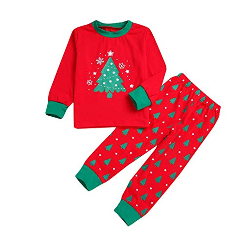 - Christmas Family Matching Clothes Long Sleeve and Pans Christmas Pajamas Set,Mom Dad Kids Cartoon Snowflake Tree Pullover Sweatshirts (Kids Red, 5-6 Years)