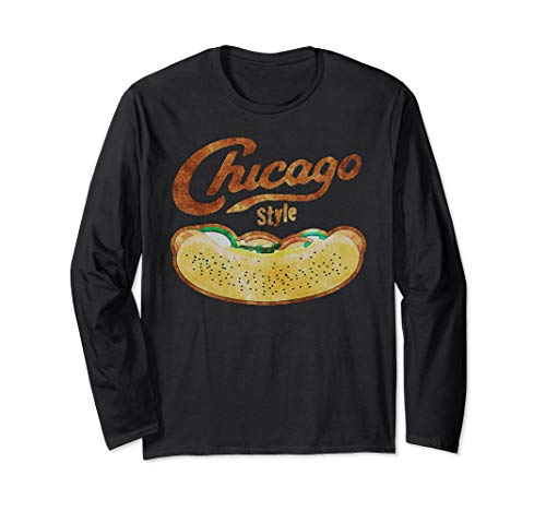 Chicago Style Hot Dog Distressed Long Sleeve T-Shirt (Hot Dog Stand In Chicago Tv Show)