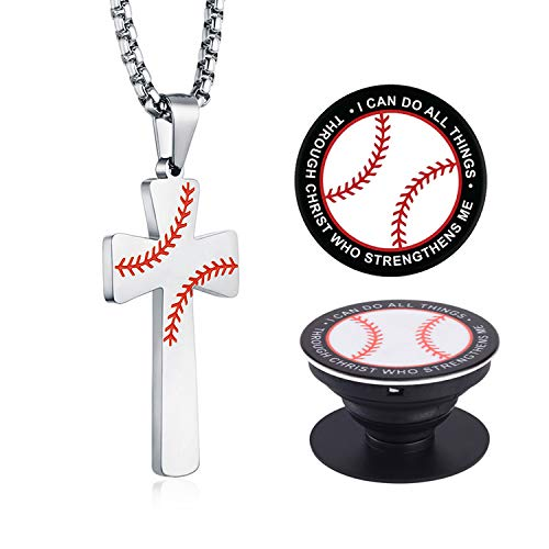 XIEXIELA Baseball Cross Pendant. I CAN DO All Things Strength Bible Verse Stainless Steel Necklace for Men Boy Softball Cell Phone Holder Silver