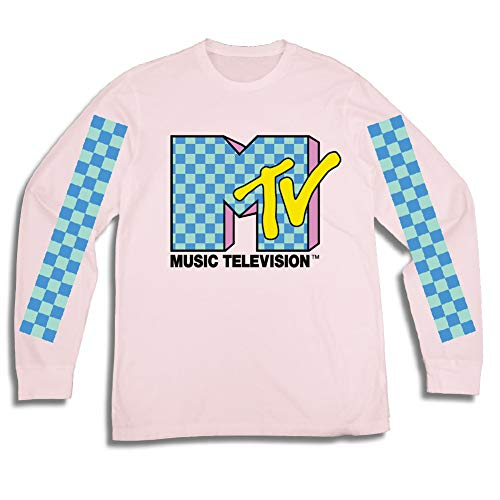 Mens MTV Long Sleeve Shirt - #TBT Mens 1980's Clothing - I Want My MTV T-Shirt (Pink, Medium)