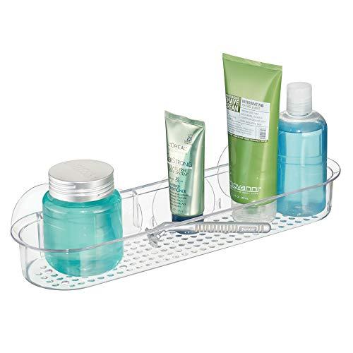 InterDesign Basic Estante para ducha, repisa de ducha larga con ventosas y fabricada en plástico, transparente