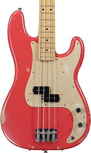 Fender Road Worn'50s Precision Electric Bass Guitar, Maple Fretboard, Gold Anodized Aluminum Pickguard - Fiesta Red