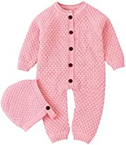 mimixiong Baby Knitted Sweater Newborn Romper Outfit Cotton Jumpsuit with Warm Hat Set