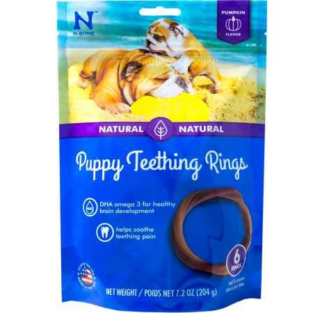 N-Bone Puppy Teething Ring Pumpkin Flavor 7.2 Oz/(6 Pack)