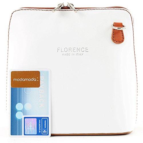 modamoda de -. borsa in pelle ital piccole signore borsa tracolla bag Città bovina T94, Präzise Farbe (nur Farbe):Weiß/Camel