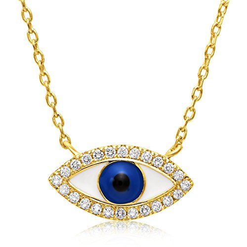 (Unique Royal Jewelry Sterling Silver Cubic Zirconia Evil Eye Necklace - Yellow Gold Finish - Adjustable 16