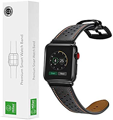 609fdaa44bf8a4 Apple Watch Band 38mm Mifan iWatch Strap Replacement Soft Leather Dot  Design Black Wristband Bracelet with Black Metal Clasp Buckle for Apple  Watch Series ...
