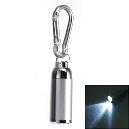 (1Pc Deluxe Popular Mini Keychain LED Flashlight Portable Light Tactical Lamp Small Gift Color Silver)