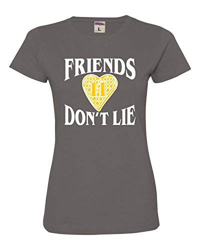 Tee T-shirts Screen Printing - Go All Out Screenprinting Small Charcoal Womens Friends Don't Lie Waffle Heart 11 Deluxe Soft T-Shirt