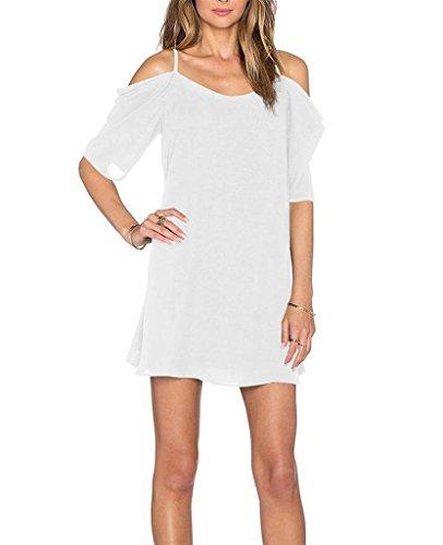Womens Chiffon Cut Out Cold Shoulder Spaghetti Strap Mini Dress Top, White, X - Large