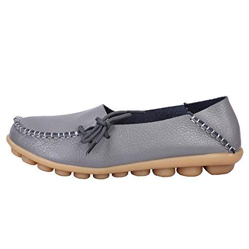 Flats Loafers fluores Leather Driving Shoes fereshte A Gray Women's Casual Moccasins 1 tSwgfqY