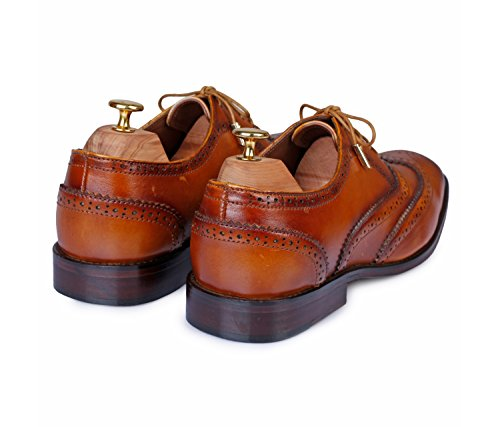 Lethato Wingtip Brogue Oxford Handcrafted Men's Genuine Leather Lace up Dress Shoes with Golden Color Metal Aglets Shoelace Tips- Tan