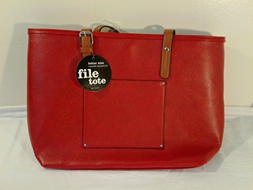 Avenue Leather Tote - Fashion File Organizer Tote with Classy Red Faux Leather