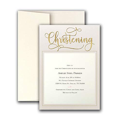Golden Christening Imprintable Invitation