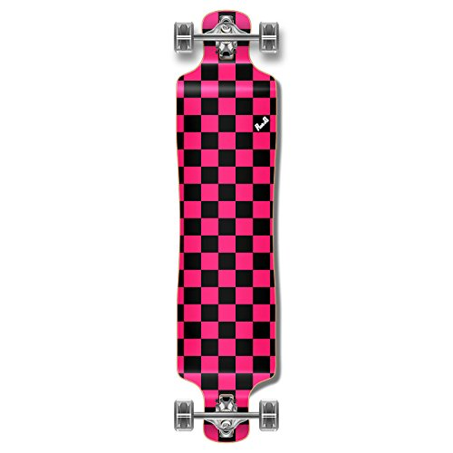 (Yocaher Blank/Checker Complete Lowrider Skateboards Longboard Cruiser Black Widow Premium 80A Grip Tape Aluminum Truck ABEC7 Bearing 70mm Skateboard Wheels (Complete - Lowrider - 12 - Checker Pink))