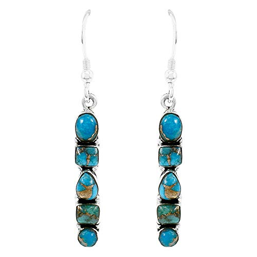 Genuine Stone Ring (925 Sterling Silver Earrings in Genuine Turquoise & Gemstones (Teal/Matrix Turquoise))