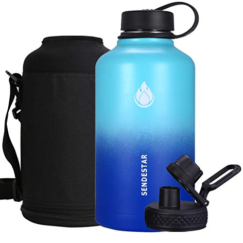 SENDESTAR 64 oz Beer Growler Double Wall Vacuum Insulated Leak Proof Stainless Steel Water Bottle Wide Mouth with Flat Cap & Spout Lid Includes Water bottle Pouch (Mint/Cobalt)