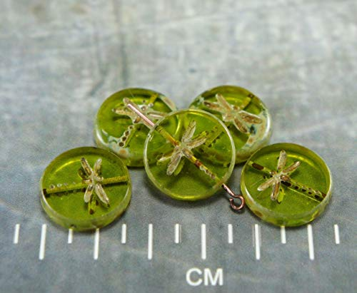 Picasso Olive Olivine Green Brown Rustic Window Dragonfly Table Cut Flat Coin Round Czech Glass Beads 17mm 4pcs ()