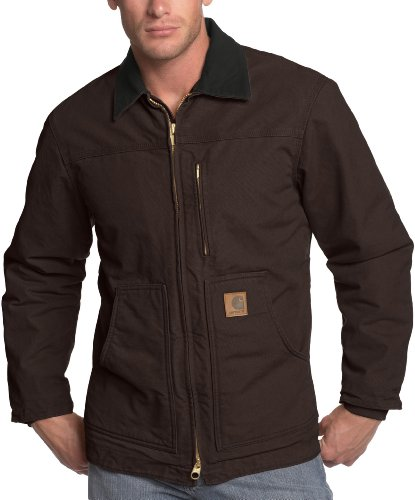 Carhartt Men's Ridge Coat Sherpa Lined Sandstone,Dark Brown,X-Large