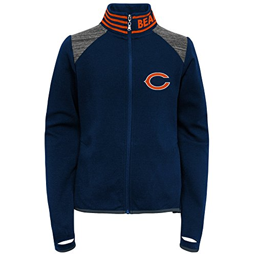Outerstuff NFL Chicago Bears Youth Boys Aviator Full Zip Jacket Dark Navy, Youth Large(14) - Navy Blue Chicago Bears Jacket