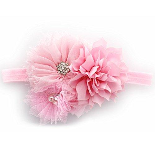 Pink Cluster Flowers - My Lello Girls Shabby Fabric Flower Cluster Headband (Light Pink)