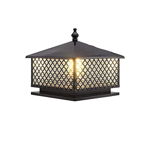 DFEIL Outdoor Garden Aluminium Landscape Column Lamp European Fence Antirust Bollard Light Villa Patio IP54 Waterproof American Street Square Pillar Post Lantern (Color : Black, Size : 4037cm) ()