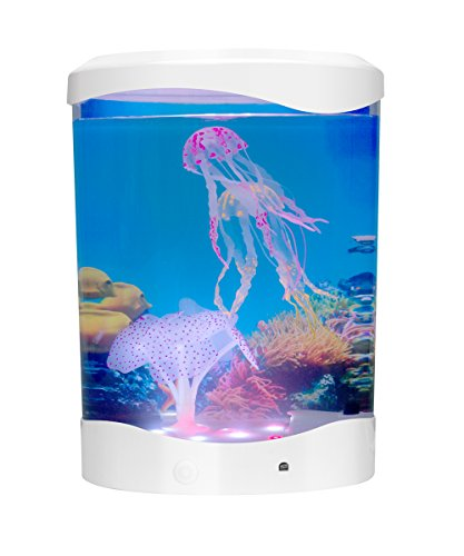 Home Decor Electric Jellyfish Tank Aquarium With Color Changing Light Effects For Living Room, Bedroom For Tabletop Desktop (White)