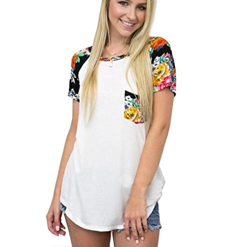 Sensor Tee (Women T-Shirt,Kaifongfu Plus Size Fashion Floral Short Sleeve Cotton Casual T-Shirt (XXL, White))