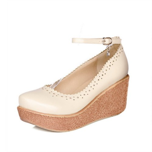 VogueZone009 Womens Closed Round Toe Mid Heel Wedge Soft Material PU Solid Mary Jane Pumps Beige jtsOvOo