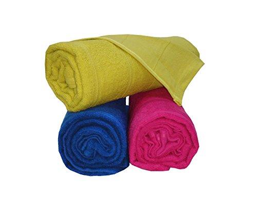 Welhome Ecolite 250 GSM Cotton 3 Piece Bath Towel Set – Lime Green, Royal Blue and Shocking Pink