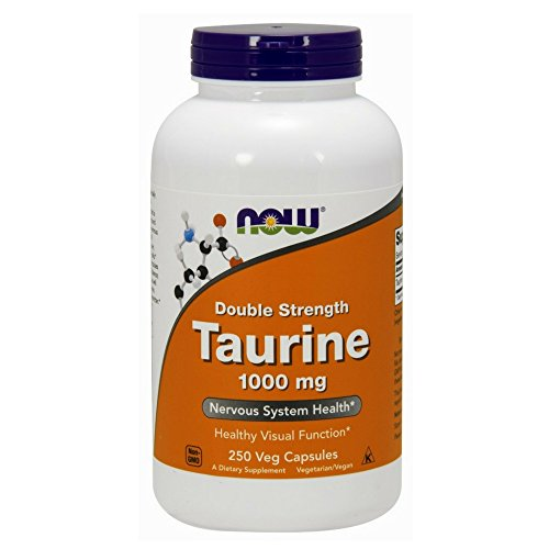 NOW Supplements, Taurine, Double Strength 1000 mg, 250 Veg Capsules (Best Foods To Eat For Cramps)